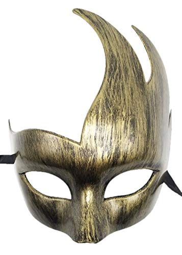 Coolwife Mens Masquerade Mask Greek Roman Party Mask Mardi Gras Halloween Mask (B Antique Gold) for $<!--$9.98-->