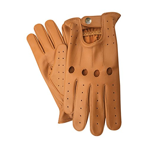 Prime Sports Top Quality Real Soft Leather Mens Without Linning Driving Gloves Retro Glove in Black, White, Red, Yellow, Tan, Brown and Burgendy Colors (Tan, MEDIUM)