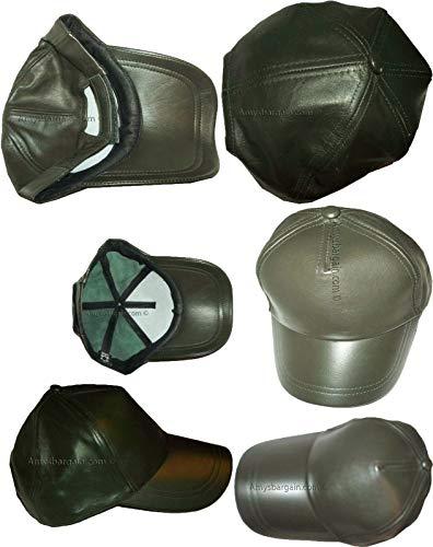 Lot of 6 New Leather Baseball caps Green Leather Cap Head wear Fashion Hat BNWT