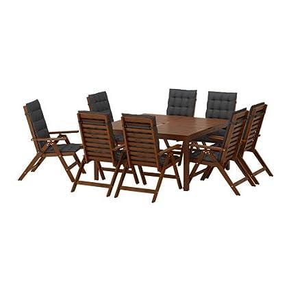 Excellent Amazon Com Ikea Table And 8 Reclining Chairs Brown Creativecarmelina Interior Chair Design Creativecarmelinacom
