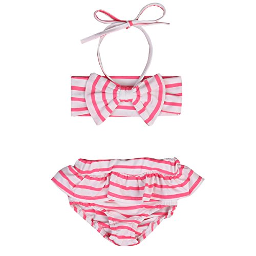 Girls Kids Swimsuit Bikini Set Bowknot Swimwear Stripe 2 Pieces Bra Top + Ruffle Dress (2-3T, Pink) (3t Bikini Bottom)