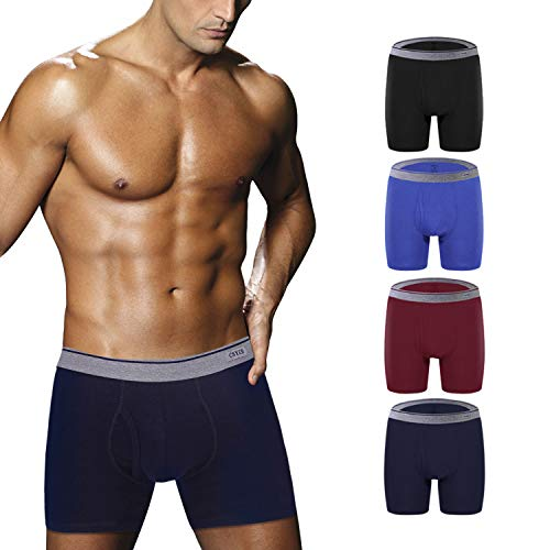 Ddgoo Men's Comfortable Bamboo Fiber Boxer Briefs Ultra Soft Comfy Breathable Underwear with Fly 4 Pack M