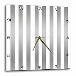 3dRose Anne Marie Baugh - Stripes - Silver and White Bold Stripes Pattern - 10x10 Wall Clock (dpp_266692_1)
