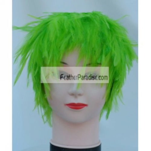 Lime Green Hackle Feather Costume Wig Halloween Costume Coque Feather Wigs (Atlanta, GA)