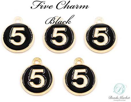 E-337【6個】*メタルチャーム No.5 ナンバー5*19×15㎜【ブラック】メタルチャーム 金属チャーム チャーム