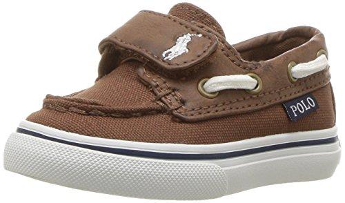 Polo Ralph Lauren Kids Boys' Batten EZ Boat Shoe, Brown Canvas/Tumbled, 9 Medium US Toddler