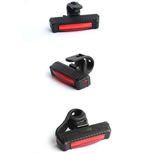 (FORESTIME Bike Bicycle 100LM LED USB Tail Head Light Rear Lamp Rechargeable (red, one))