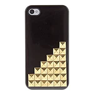 DUR Golden Square Rivets Covered Up Stairs Pattern Hard Case with Glue for iPhone 4/4S (Assorted Colors) , Green