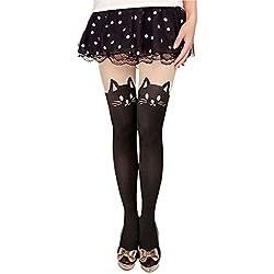 Sanwood Women's Cute Tattoo Hosiery Pantyhose Socks Stockings Tights (11 Cat Tail)