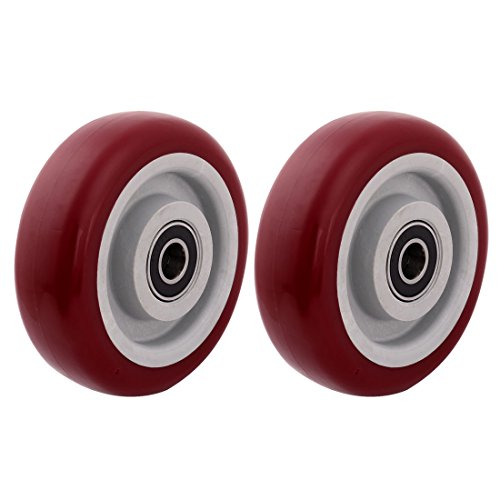 uxcell 4' Polyurethane on Hard plastic Wheel with Bearing, Shim, and Bushing, Replacement Part For Carts, Furniture, Dolly, Workbench, Trolley, Wheel Only, Red Set of 2