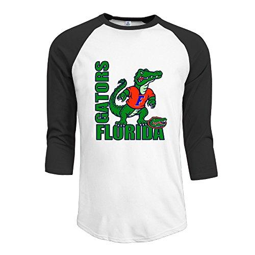 ElishaJ Men's University Of Florida Casual 3/4 Raglan Sleeves Baseball Tshirt - Black XL