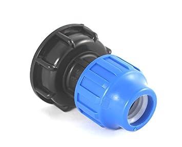 IBC Adapter Grobgewinde mit einem PE T Stück 25mm zum Verbinden von IBC Tanks