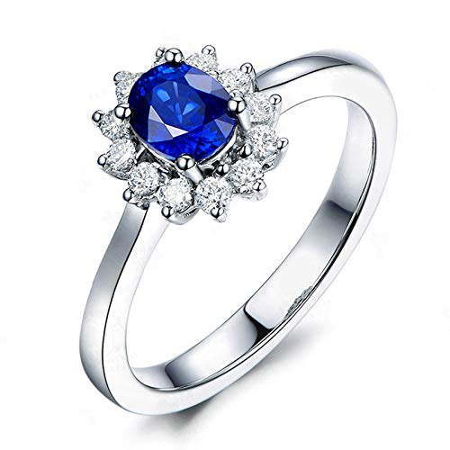 MoAndy Wedding Rings for Women Sterling Silver Jewelry Oval Shape Blue Sapphire Statement Band Size - Blue Sapphire Marquis