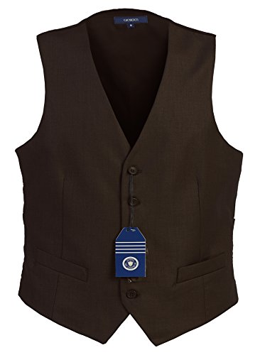 Gioberti Mens 5 Button Formal Suit Vest, Brown, (Mens Vest)