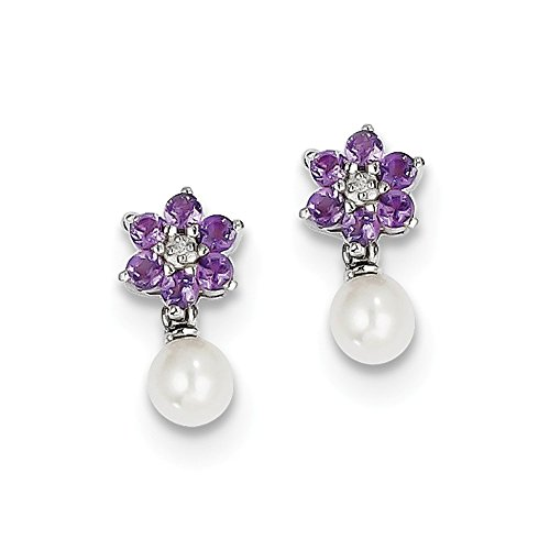 Sterling Silver Rhodium FW Cultured Pearl Amethyst Diamond Earrings