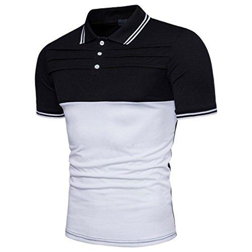 Bluestercool T-shirt Hommes Fashion Casual Slim Manches Courtes Patchwork Polo Shirt Tops Noir