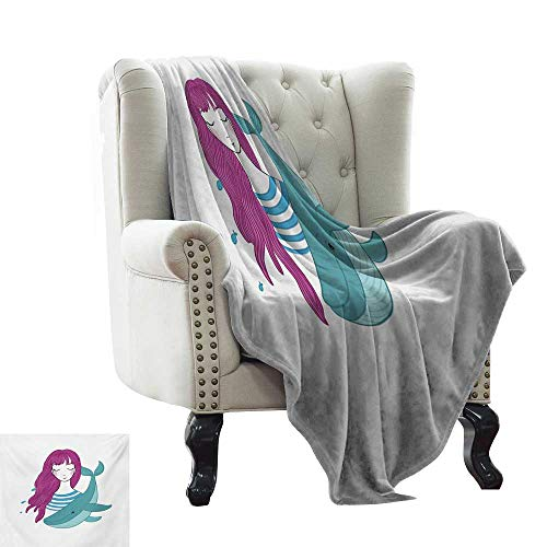 - Acelik Throw Blanket Girls Illustration of a Teenage Girl with Closed Eyes and a Funny Whale Lightweight Thermal Blankets W35 x L60 Inch Magenta Turquoise and Blue