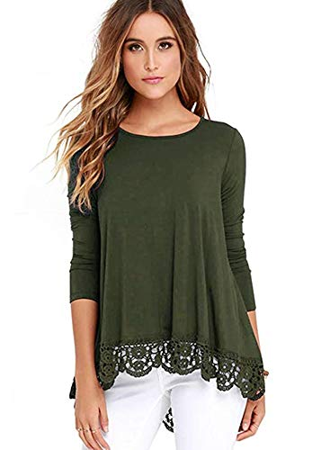 iRealy Women Long Sleeve Tunic Tops Lace Hem T Shirt Dress Loose Fit O Neck Dressy Blouse Army Green