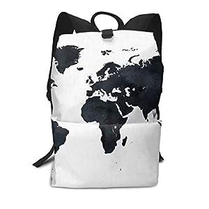 Mochila Escolar con diseño de mapamundi, Color Blanco y Negro, para portátil, para Hombres, Mujeres, niños y niñas
