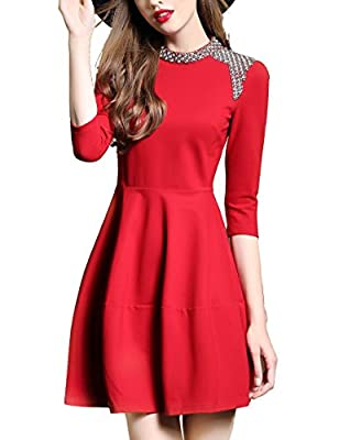 DanMunier Women's 3/4 Sleeve Fit-and-Flare Beaded Casual Cocktail Party Dress # 8076
