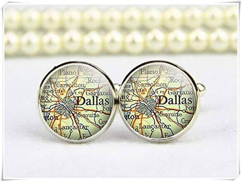 Vintage Dallas Map Cuff Links, Map Cufflinks, Custom maps, Personalized Cufflinks, Custom Wedding Cufflinks, Groom Cufflinks