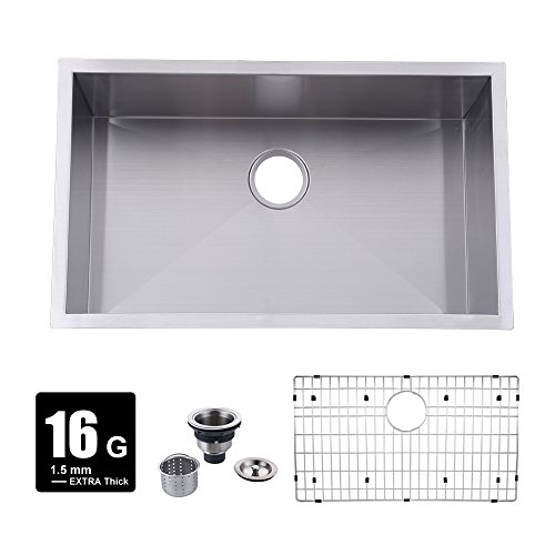 KES 30-Inch Kitchen Sink Stainless Steel Single Bowl Undermount Deep 16 Gauge Zero Radius with Drain Stainer Basket and Bottom Grid Protector 30 x 18 x 10 Inch European Contemporary Style, UB7646-C1 by Kes