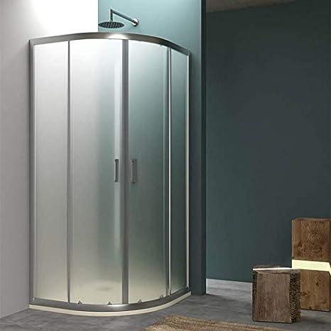 DOCCIAVIVA Mampara de Ducha semicircular de 80 x 80 cm. 2 Puertas correderas H 190 Vesper190 Vanitaduchas: Amazon.es: Hogar