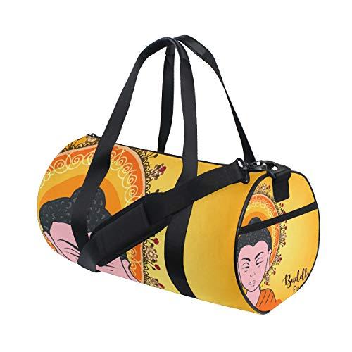 - SLHFPX Duffel Bag Happy Buddha Shoulder Yoga Gym Tote Badminton Bag for Men Boys