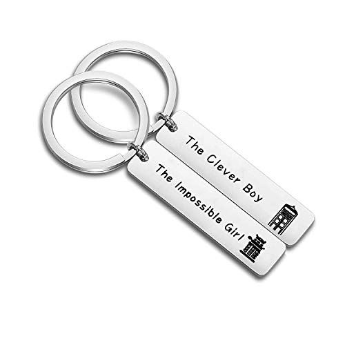 ENSIANTH Couple Gift Doctor Who Gift The Clever Boy & The Impossible Girl Keychain Set (Dr who Keychain Set)