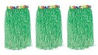 "1 X Lot 3 Adult Luau Hula Party Skirts-Green w/Floral Waistbands W 28""-42"" X L 30"""
