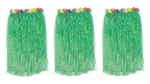 1 X Lot 3 Adult Luau Hula Party Skirts-Green w/Floral Waistbands W 28