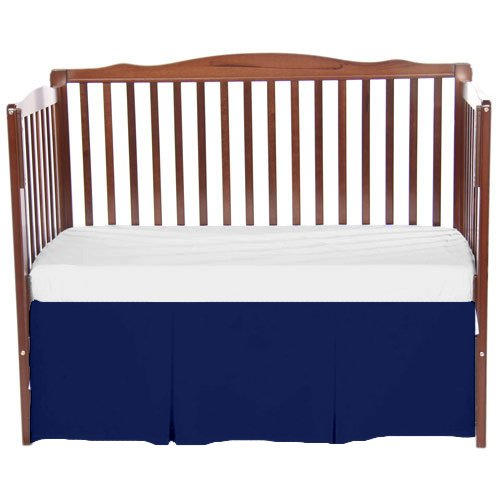 bkb Solid Tailored Crib Skirt, Navy Blue by bkb