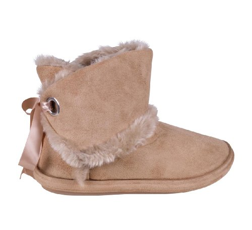 7 5 Lined Sheepskin 6 Shoes 4 Boots Slipper Back Tie Women's Ize 8 Beige Fur 3 Faux Ankle Fashion qFaxawBS