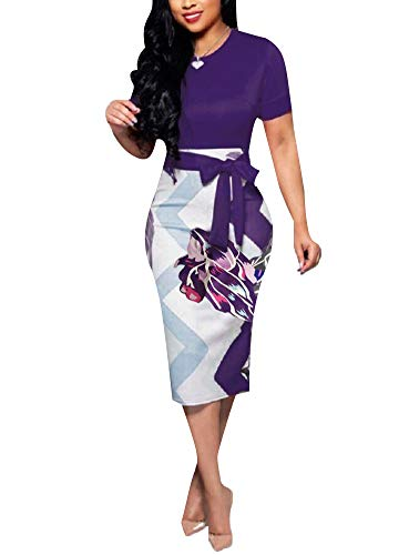 Women' Short Sleeve Bodycon Dress -Cute Bowknot Floral Pencil Dress Medium Purple