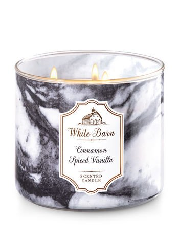 Bath and Body Works White Barn Cinnamon Spiced Vanilla 3 Wick Candle 14.5 Ounce 25 To 45 Hour Burn Time (Barn Candle)