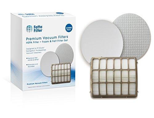 Shark Navigator Professional Compatible Filters. Fits Shark NV70, NV80, NV90, NV95, UV420 Vacuums. Replaces Part # XFF80 & XHF80. 1 HEPA Filter Plus 1 Foam & Felt Filter Kit by Fette Filter