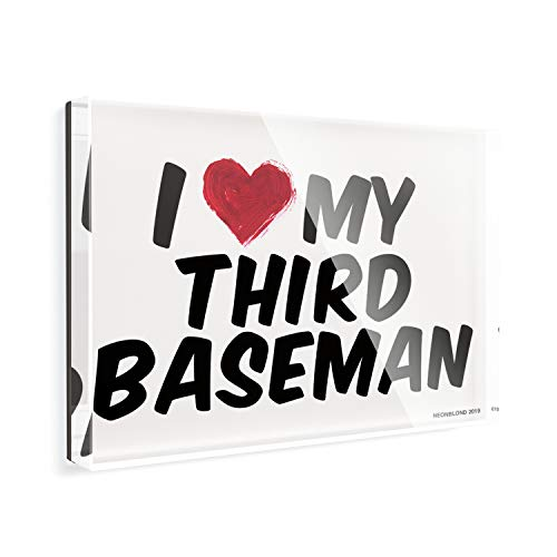 Acrylic Fridge Magnet I heart love my Third Baseman NEONBLOND
