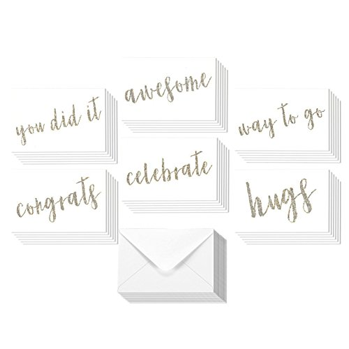 36 Pack All Occasion Sentiments Glitter Greeting Cards, 6 Assorted Congrats, You Did It, Celebrate, Hugs, Awesome, Hugs Designs, Bulk Box Set Variety Assortment, Envelopes Included, 4 x 6 Inches Glitter Stationery Set