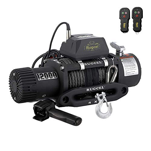 RUGCEL WINCH Waterproof IP68 Electric Winch with Hawse Fairlead,Steel Wire Rope, 2 Wired Handle and 2 Wireless Remote (12000 lb.Load Capacity-Synthetic Rope) 9000 Lb Electric Winch