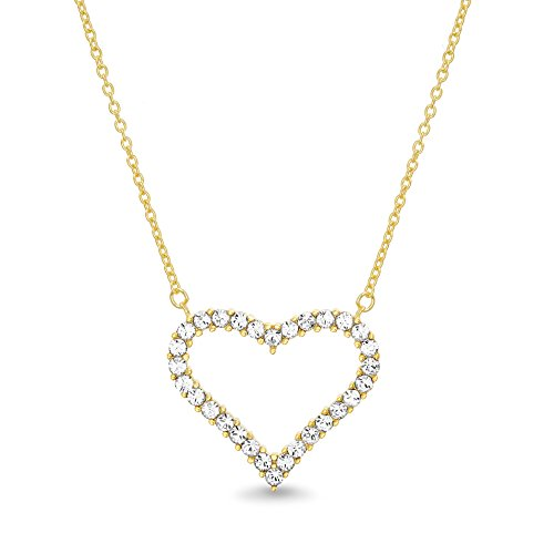 (Devin Rose Open Heart Pendant Necklace for Women made with Swarovski Crystal in Yellow Gold Plated 925 Sterling Silver)