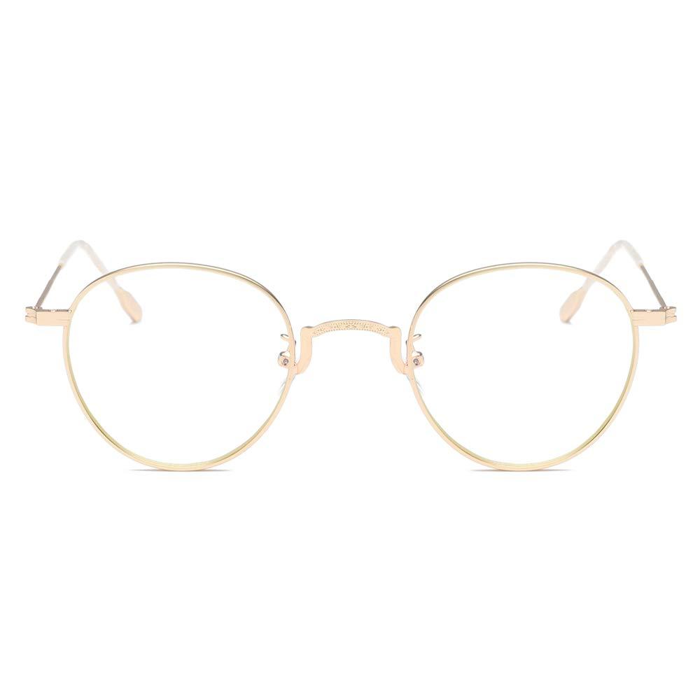 LUOMON Round Metal Gold Frame Eyewear UV400 Lens Non-Prescription Eyeglasses EG5811