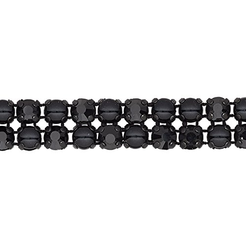 Banding glass pearl/cotton cord/black-plated brass 2 rows 10mm wide with 4.5mm round black and jet (Jet Row)