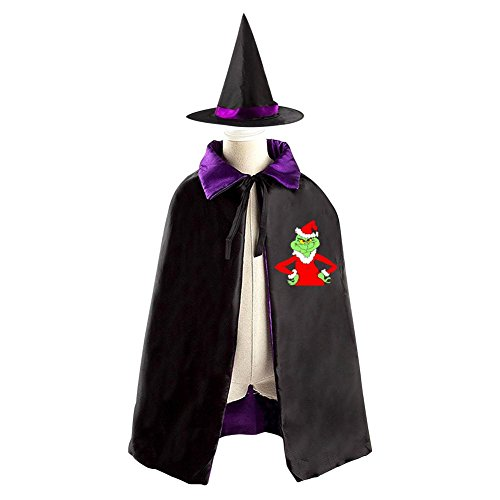 Children Dr Seuss The Grinch Who Stole Christmas Halloween Christmas Cloak With Hat Witch Costume Props