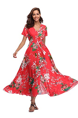 Ferrendo Summer Women's Floral Maxi Dress Button Up Split Flowy Bohemian Party Beach Dresses Red