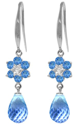 14k White Gold Fish Hook Blue Topaz Flower Earrings