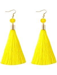 Women Thread Tassel Dangle Earrings Silk Fringe Thread Drop Earrings for Parties