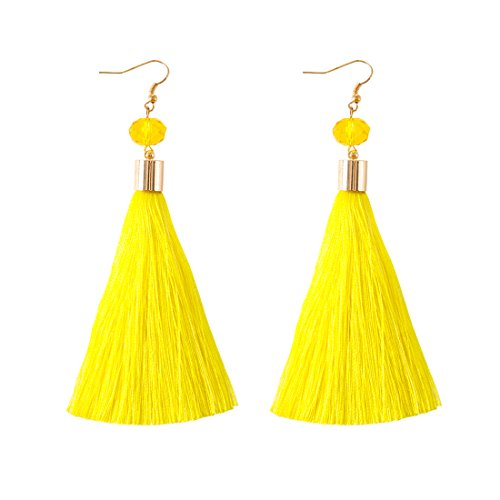 NLCAC Tassel Dangle Earrings Silk Thread Drop Earrings Yellow Dangle Ear Hook