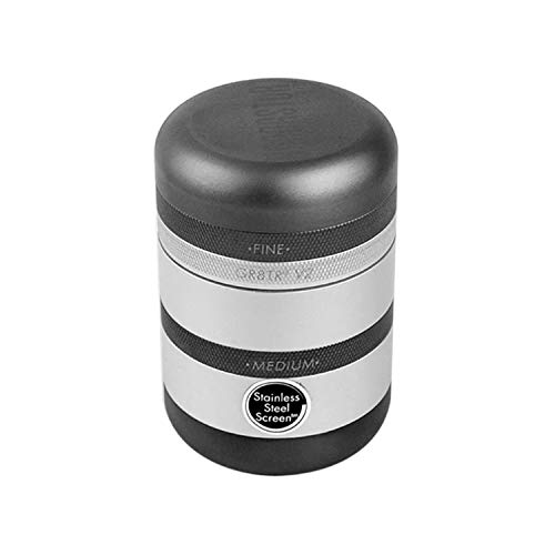Kannastör GR8TR V2 Grinder - Solid Body with Stainless Steel Easy Change Screen (Matte Silver)