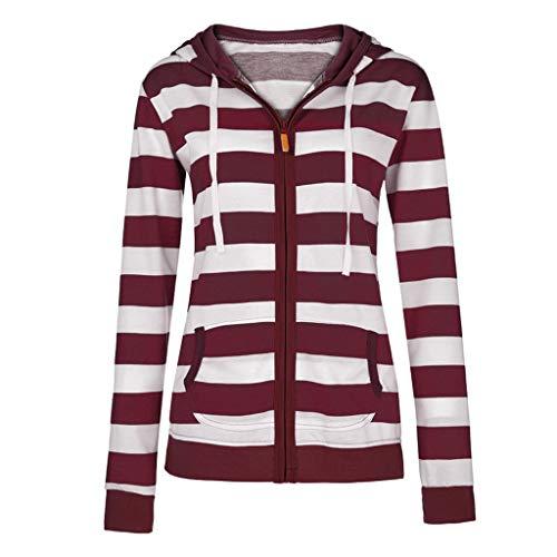 HULKAY Hooded Sweatshirt Coat for Women Long Sleeve Striped Zip Fashion Slim Jacket Outwear with Pockets(WIne,M)