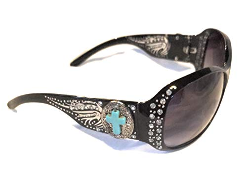 (BB Faux Turquoise Blue Cross Wings Sunglasses Bling Rhinestone Concho Shades Jp (Black Silver Tone Concho))